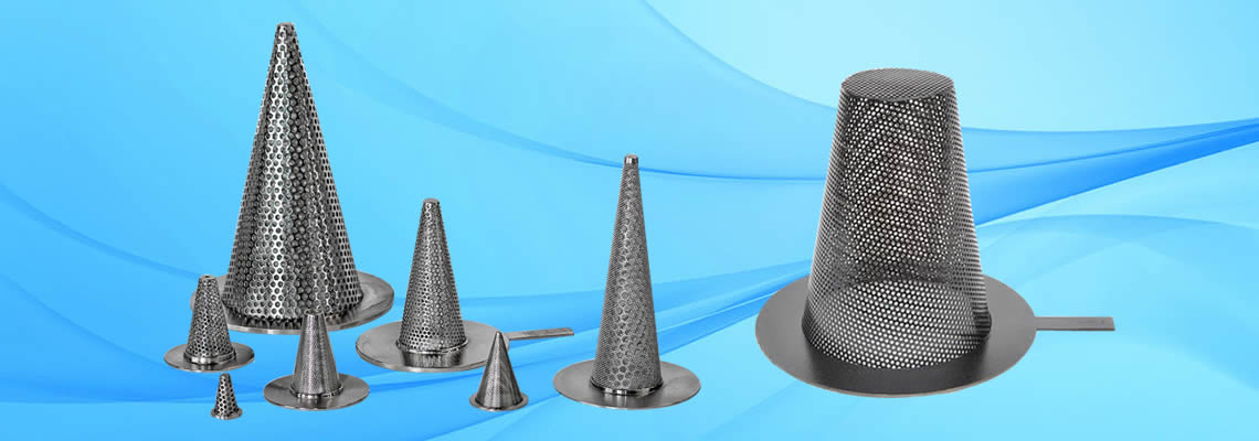 Conical strainers manufactured with sharp bottom or flat bottom.