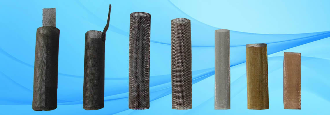 A row of cylindrical filters made of different materials.