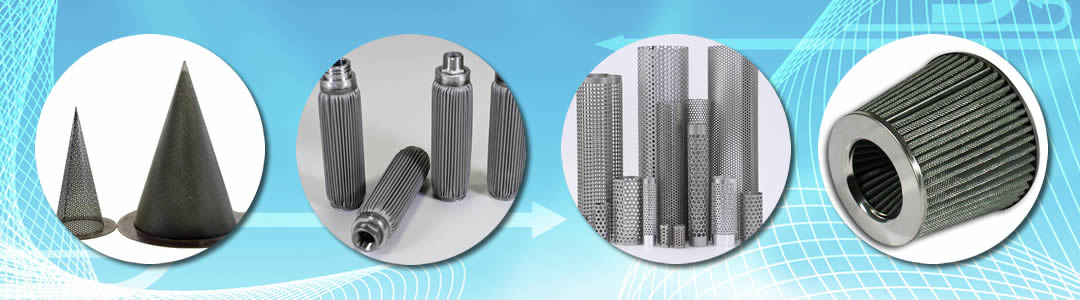 conical strainer, pleated filter, perforated filter tube and air filter.