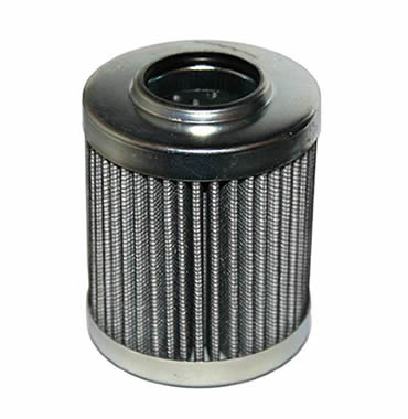 Hydraulic oil filter made of pleated fine mesh and outside layer is black woven cloth.