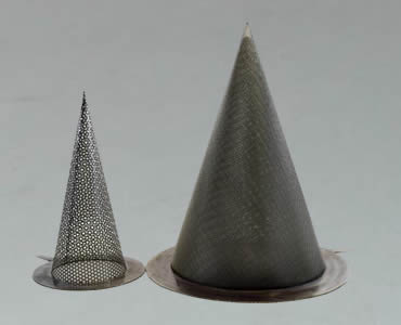 Two conical strainers made of black wire mesh cloth with sharp bottom.