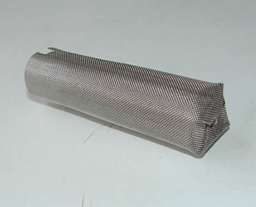 One cylindrical filter tube with closed welded bottom and a chipped edge.