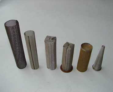 Six different kinds of cylindrical filters stand on the white background.