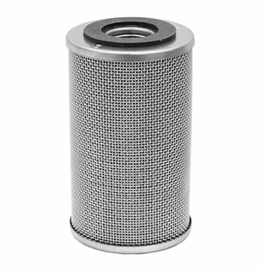 Hydraulic oil filter made of stainless steel woven mesh and with aluminum edges on its two ends.