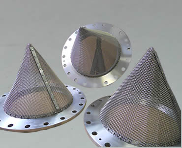 Conical strainer with mounting flange.