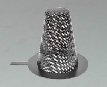 Conical strainer made of black painted perforated mesh with flat bottom and a handle shank.