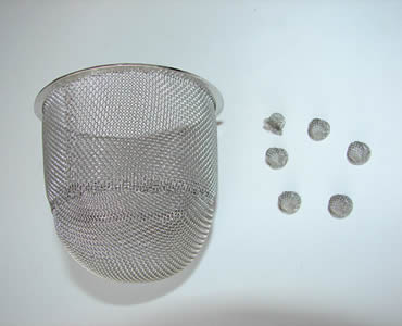 Conical strainer with half round bottom and stainless steel edge.