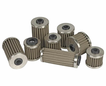 Several hydraulic oil filters made in different sizes.