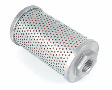 The outside of hydraulic oil filter made of a layer of perforated metal mesh.