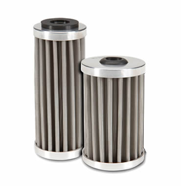 Two hydraulic oil filters made of pleated low carbon steel mesh stand on the white background.