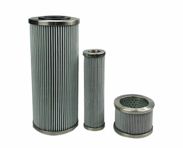 Three different sizes of hydraulic oil filters made of pleated stainless steel mesh.