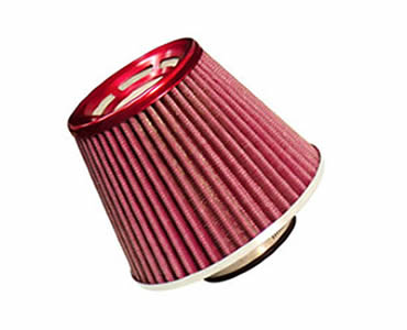 An air filter made of stainless steel mesh painted in red color.