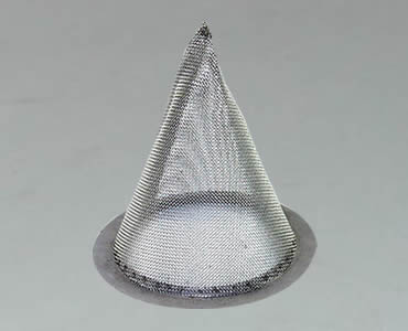 Conical strainer made of woven mesh cloth with sharp bottom.