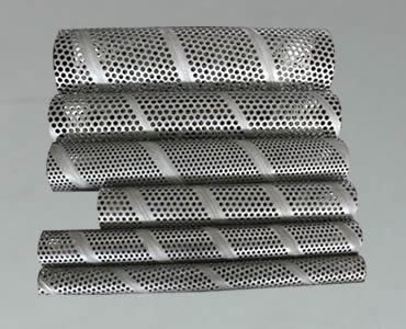 Several different sizes of perforated filter tubes made with perforated round holes and spiral metal mesh.