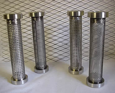 Four perforated filter tubes with square holes and with stick out SS edges on its two ends.