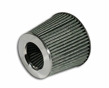 An air filter made of stainless steel wire mesh.