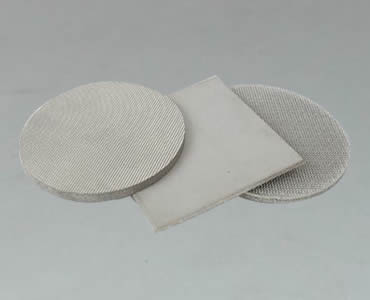 Two round sintered filters and one square sintered filter on the white background.
