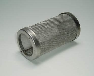 A cylindrical filter made of fine woven mesh cloth with stainless steel edge on the two end.